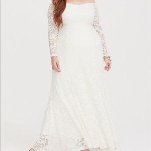 Lace off the shoulder special occasion dress